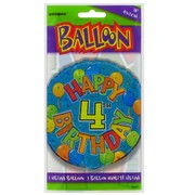 Balloon Foil 18in Balloons Birthday Age 4 Pk1