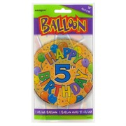 Balloon Foil 18in Balloons Birthday Age 5 Pk1