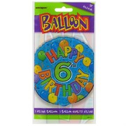 Balloon Foil 18in Balloons Birthday Age 6 Pk1