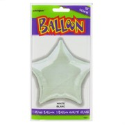 Balloon Foil 20in White Star Pk1