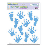 Baby Prints Blue Hands and Feet Wall Clings Pk 12