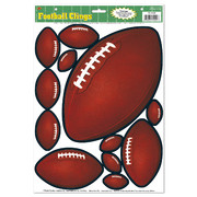 Assorted Sizes Football Wall Clings Pk 12