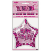 20in Glitz Pink & Silver Star Happy Birthday Foil Balloon Pk 1