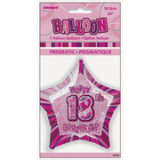 20in Glitz Pink & Silver Star 18 Foil Balloon Pk 1