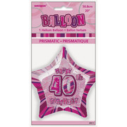 20in Glitz Pink & Silver Star 40 Foil Balloon Pk 1