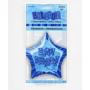 20in Glitz Blue & Silver Star Happy Birthday Foil Balloon Pk 1