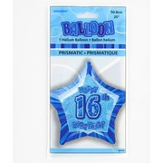 20in (50.8cm) Glitz Blue and Silver Star 16 Foil Balloon Pk1