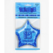 20in (50.8cm) Glitz Blue and Silver Star 18 Foil Balloon Pk1