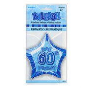 20in (50.8cm) Glitz Blue and Silver Star 60 Foil Balloon Pk1