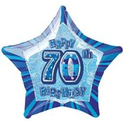 20in (50.8cm) Glitz Blue and Silver Star 70 Foil Balloon Pk1