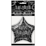 20in Glitz Black & Silver Star Happy Birthday Foil Balloon Pk 1