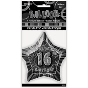 20in Glitz Black & Silver Star 16 Foil Balloon Pk 1