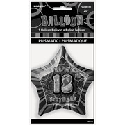 20in Glitz Black & Silver Star 18 Foil Balloon Pk 1
