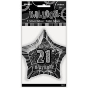 20in Glitz Black & Silver Star 21 Foil Balloon Pk 1