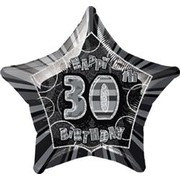 20in Glitz Black & Silver Star 30 Foil Balloon Pk 1