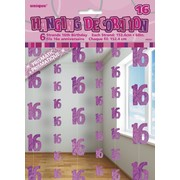 Glitz Pink 16th Hanging Decorations Pk 6