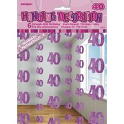 Glitz Pink 40th Hanging Decorations Pk 6
