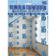 Glitz Blue 16th Hanging Decorations Pk 6