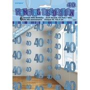 Glitz Blue 40th Hanging Decorations Pk 6