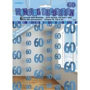 Glitz Blue 60th Hanging Decorations Pk 6