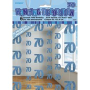 Glitz Blue 70th Hanging Decorations Pk 6