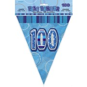 Glitz Blue 100th Flag Banner (3.6m) Pk 1