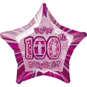20in Glitz Pink & Silver Star 100 Foil Balloon Pk 1