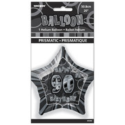 20in Glitz Black & Silver Star 90 Foil Balloon Pk 1
