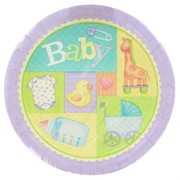 Baby Shower Plates - Large 23cm Pastel Patchwork Pk8