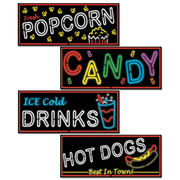 Neon Food Signs Assorted Cutouts (50cm) Pk 4