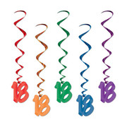 18 Multi Hanging Birthday Whirl Decorations (91cm) Pk 5