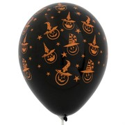 Balloon Latex Witchy Pumpkin Orange Black Pk10