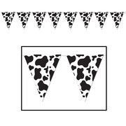 Black and White Cow Print Pennant Banner (3.66m) Pk 1
