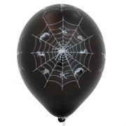 Balloon Latex All Over Print Spider White on Black  Pk10