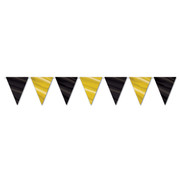Black and Gold Pennant Banner (3.66m) Pk 1