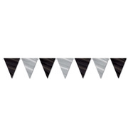 Black and Silver Pennant Banner (3.66m) Pk 1