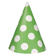 Lime Green & White Polka Dot Party Hats Pk8