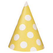 Yellow & White Polka Dot Party Hats Pk 8