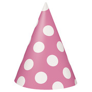 Hot Pink & White Polka Dot Party Hats Pk 8
