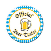 Oktoberfest Official Beer Tester Blue & White Party Badge (9cm) Pk 1