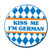 Oktoberfest Kiss Me I'm German Blue & White Party Badge (9cm) Pk 1