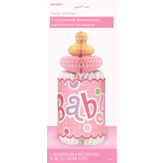 Pink Baby Bottle Baby Shower Honeycomb Centrepiece Pk 1
