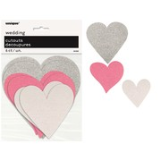 Assorted Silver, Pink & White Glittered Heart Cutouts Pk 6