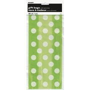 Lime Green Cello Bag with White Polka Dots Pk20
