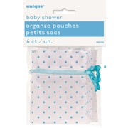 Baby Shower Blue Dots Organza Bags Pk 6
