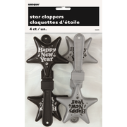 New Year Black & Silver Star Hand Clappers Pk 4
