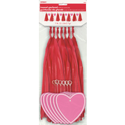 Red Tassel Garland with Hearts (2.13m) Pk 1