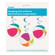 Beach Ball Hanging Swirl Decorations Pk 3