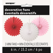 Red, White & Pink Decorative Fans (15cm) Pk 3