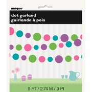 Dots Garland Green, Pink, Blue & Purple Pk1 9ft